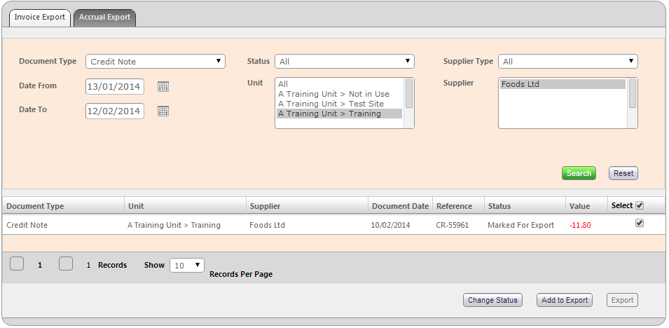Invoice Export Screen