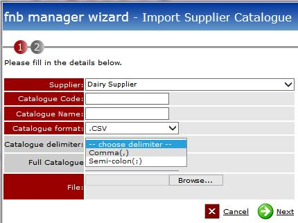 Fig 4 - New Import Supplier Catalogue Screen