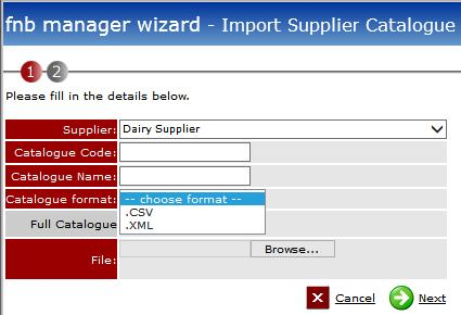 Fig 11 - Importing a Supplier Catalogue