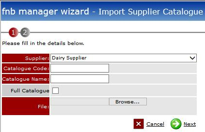 Fig 3 - Old Import Supplier Catalogue Screen