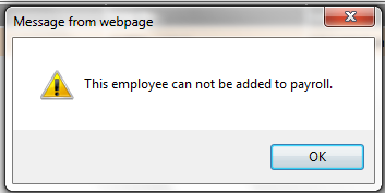 Fig 4 - Unable to Access Employee Record Warning