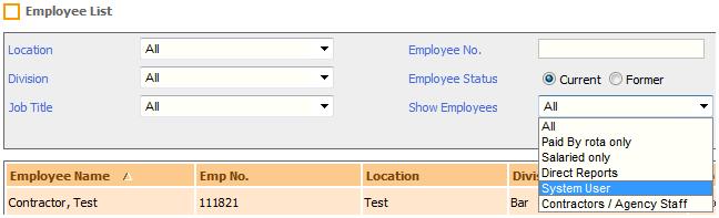 Fig 5 - Show Employees Drop-down List Criteria