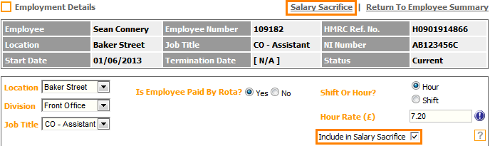 Fig 4 - Employment Detail Page with Salary Sacrifice Updates