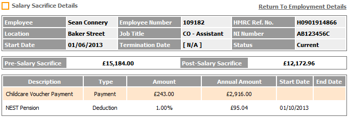 Fig 5 - Salary Sacrifice Details Page