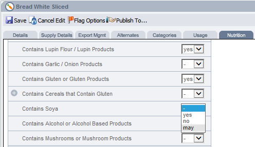 Fig 1 – 'May' Option on Intolerance Data Tab