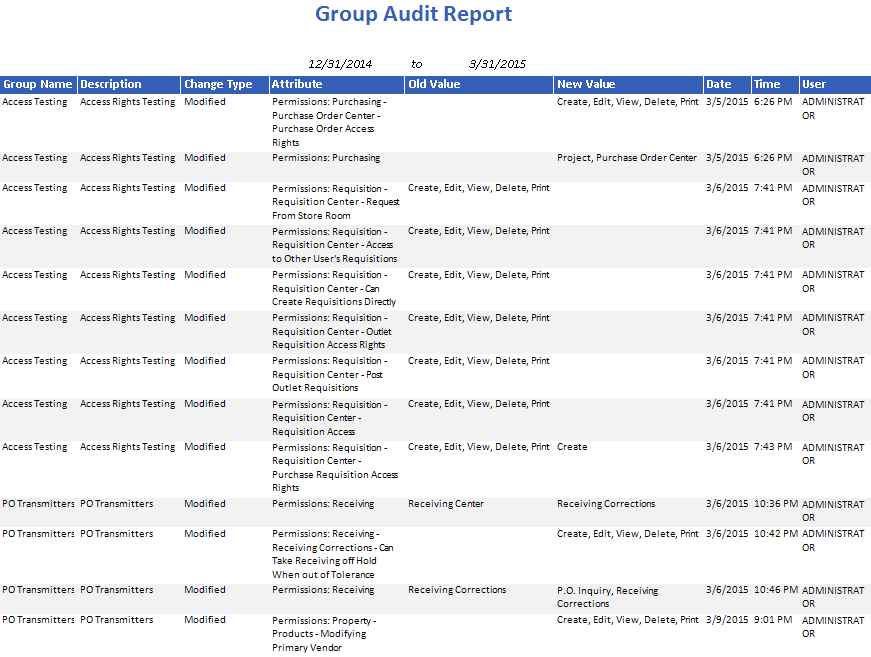 Group Audit Report