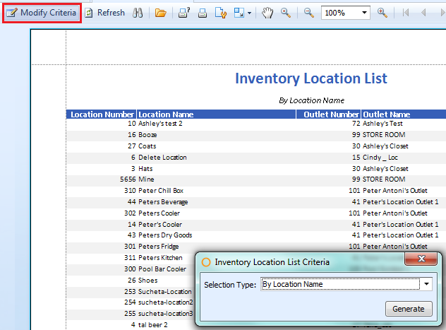 Inventory Location List Criteria
