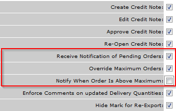 Fig.4 - Template options for Templates able to approve Over Maximum Orders