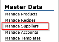 Fig.6 - Highlighting where to find the Manage Suppliers Screen