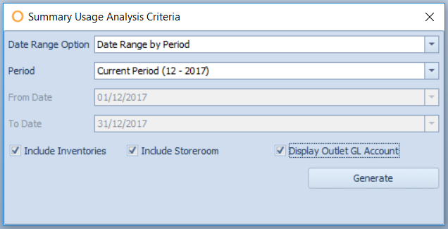 Fig.2 - Report Criteria for the Summary Usage Analysis report