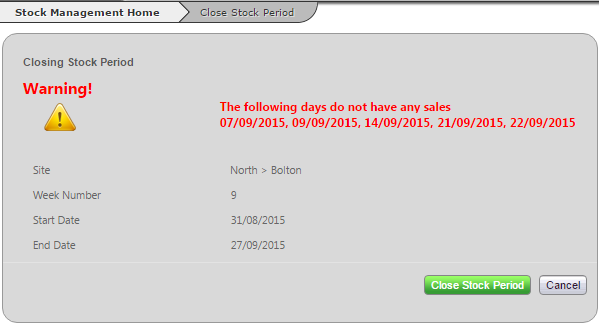 Fig 4 – Closing Stock Period Missing Sales Warning