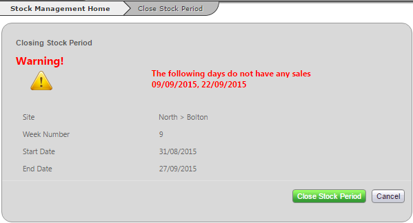 Fig 5 – Missing Sales Warning Message After Update to Trading Days