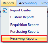 Receiving Reports drop down option