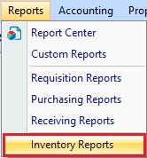 Inventory Reports drop down option