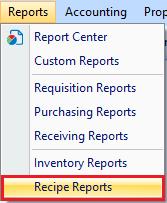 Recipe Reports drop down