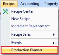 Production Planner drop down
