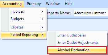 Alcohol Declaration drop down