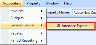 General Ledger Export drop down