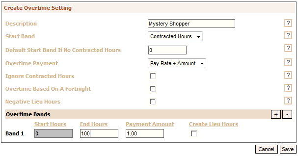 Fig 3 - Creating the Overtime Setting