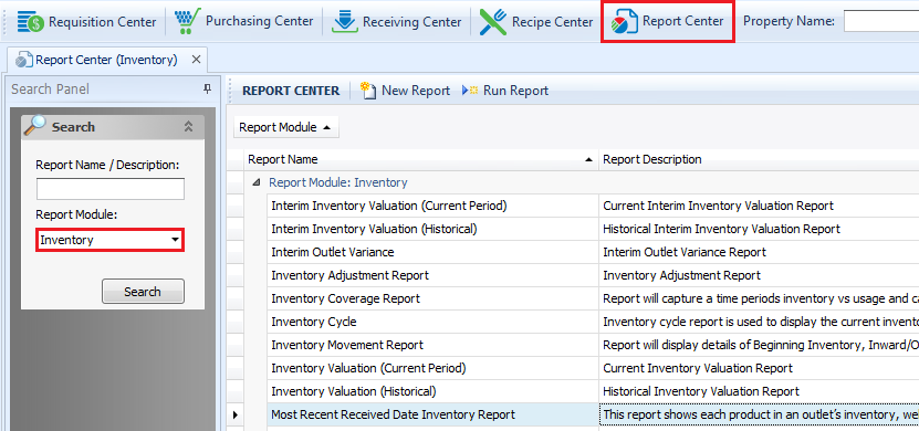 Most Recent Received Date Inventory Report