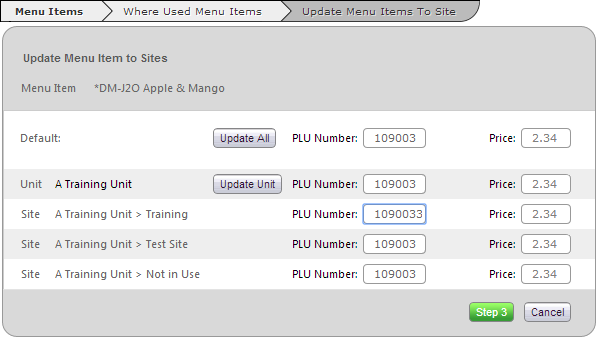 Fig 3 - Update Menu Item – No Sales Price Access
