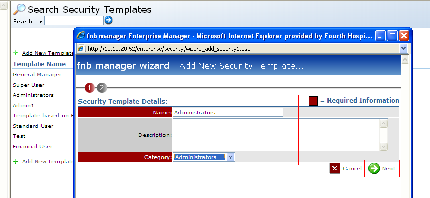 Fig 3: This shows where to enter the new Security Template details