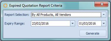 Expired Quotation Report Criteria