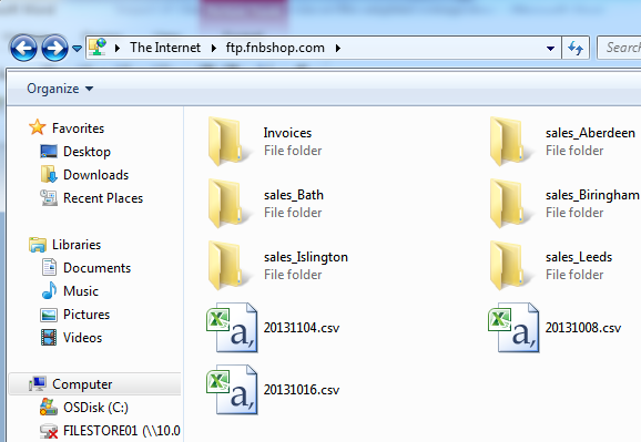 Fig 4 - FTP in Windows Explorer